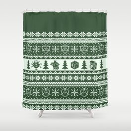 "Roll for Initiative Fair Isle in ""Evergreen"" Shower Curtain"
