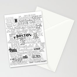 Boston Typography Mashup Stationery Cards