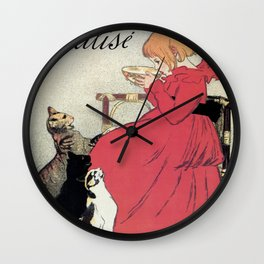 Vintage Art nouveau French milk advertising, cats, girl Wall Clock