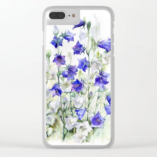 Bluebells watercolor flowers, aquarelle bellflowers Clear iPhone Case