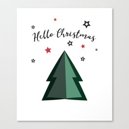Hello Christmas - Christmas Tree and Stars Canvas Print