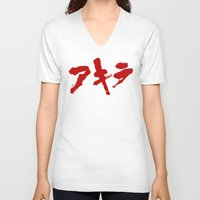grafitti V-neck T-shirts featuring Akira Grafitti by InvaderDig