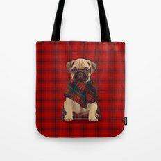 The Plaid Poncho'ed Pug Tote Bag