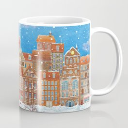 Merry  Christmas and New Year holidays card with  fairy town and  frozen river  in winter Coffee Mug
