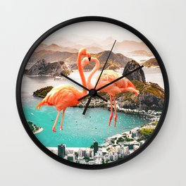Collage, Flamingo, City, Creative, Nature, Modern, Trendy, Wall art Wall Clock