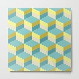 Lemony 3D cubes optical art pattern Metal Print