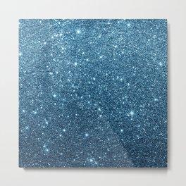 Stylish chic navy blue teal glam glitter gradient Metal Print