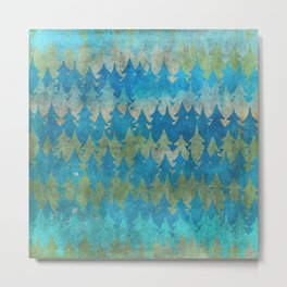 The secret forest - Abstract aqua turquoise Forest tree pattern Metal Print