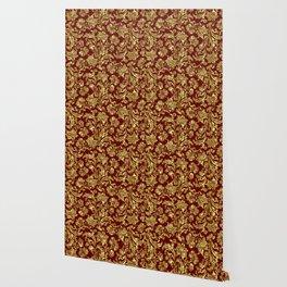 Red & Gold Floral Damasks Pattern Wallpaper