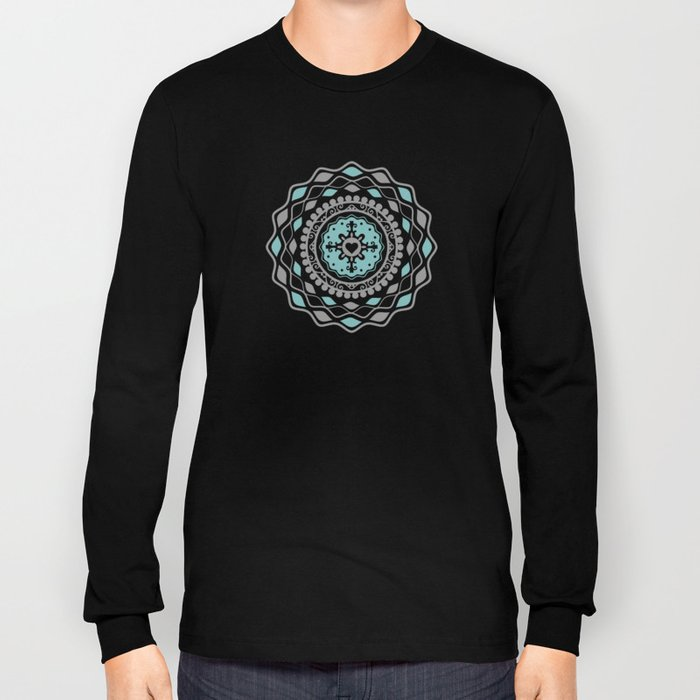Heart Mandala – Blue Long Sleeve T-shirt