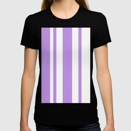 Mixed Vertical Stripes - White and Light Violet T-shirt