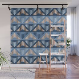Rhombus (Blue and Peachy Pattern) Wall Mural