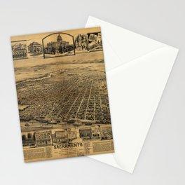 Aerial View of Sacramento, California (circa 1890) Stationery Cards