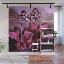 Dark Pink Auriculas : Temple of Flora Art Print Wall Mural
