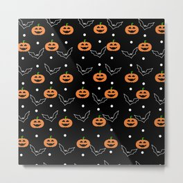 Halloween Pumpkin & Bats Pattern Metal Print