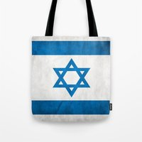 israel Tote Bags featuring Israel Flag  by Jason Michael