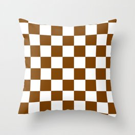 Checkered - White and Chocolate Brown Throw Pillow