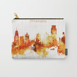 Philadelphia Pennsylvania Red Yellow Skyline Carry-All Pouch