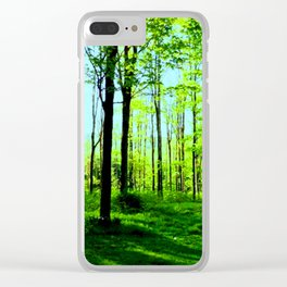 Sky Blue Morning Forest Clear iPhone Case