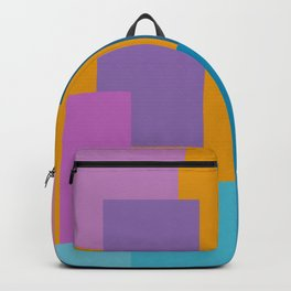 Happy Color Block Geometrics in Yellow, Blue, Purple, and Pink Backpack