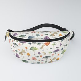 Watercolor mushrooms pattern on cream background Fanny Pack