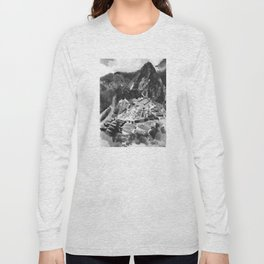 Machu Picchu Peru Black and White Watercolor Painting Long Sleeve T-shirt