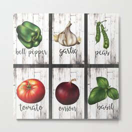 Rustic White Wood Herbs & Garden Vegetables Metal Print