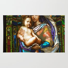 Mother Mary With Jesus Rug