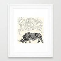 rhino Framed Art Prints featuring Rhino by famenxt
