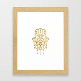 Golden Khamsa Mandala Framed Art Print