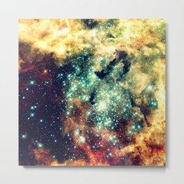 galaxy nebula stars Golden Brick Aqua Metal Print