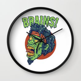 Zombie Looking For Brains Because He's Hungry Wall Clock