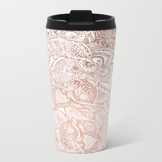 Chic hand drawn rose gold floral mandala pattern Metal Travel Mug