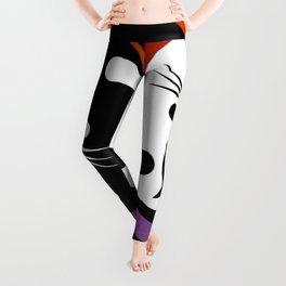 black & white yin yang cats Leggings