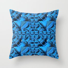 ORNATE  BLUE CRYSTAL GEMS PATTERN Throw Pillow