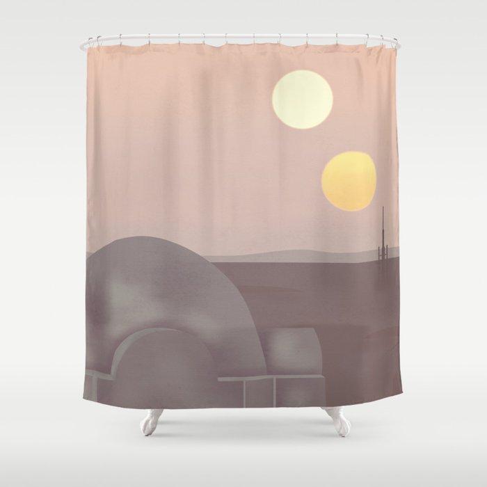 Retro Travel Poster Series - Star Wars - Tatooine Shower Curtain ...