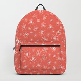 Loopy Flowers - white on coral Backpack