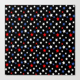 Bold Patriotic Stars In Red White and Blue on Black Canvas Print