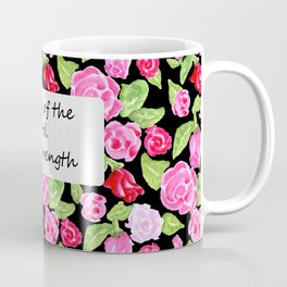 Roses on Black with Scripture Coffee Mug