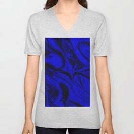 Black and Blue Swirl - Abstract, blue and black mixed paint pattern texture Unisex V-Neck