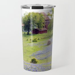 Old Red Barn and Rolling Bluebonnet Hills Travel Mug