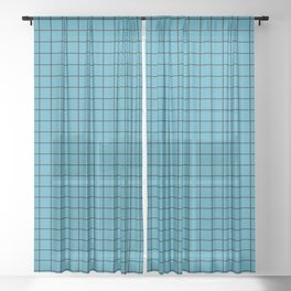 Teal with Black Grid Sheer Curtain
