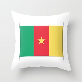 Flag of Cameroon.  The slit in the paper with shadows.  Throw Pillow