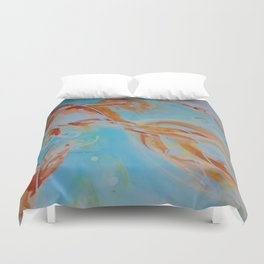 GoldFish Bubbles 1nw watercolor by CheyAnne Sexton Duvet Cover