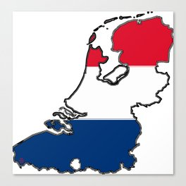 Netherlands Map with Dutch Flag Canvas Print