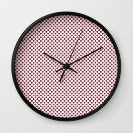 Deep Garnet Polka Dots Wall Clock