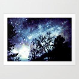 Black Trees Indigo Blue Space Art Print