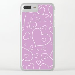 Lavender and White Hand Drawn Hearts Pattern Clear iPhone Case