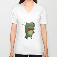 dinosaur V-neck T-shirts featuring Dinosaur by BlandinePannequin