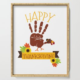 Hand Print Turkey Cute Happy Thanksgiving Serving Tray
